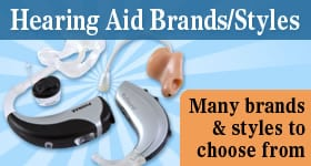 Hearing aid brands and styles
